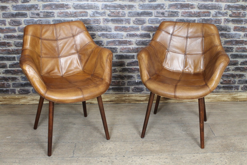 Amazing Tan Dining Chairs Vintage Style Tan Leather Bucket Armchair Kitchen Dining Chair The