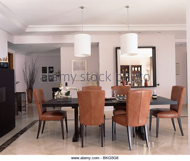 Amazing Tan Leather Dining Room Chairs Stock Photos