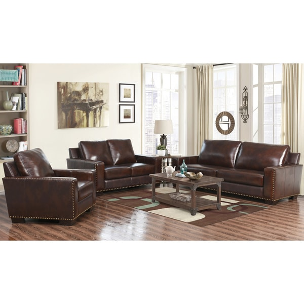 Amazing Three Piece Living Room Set Abson Barrington Top Grain Leather 3 Piece Living Room Set