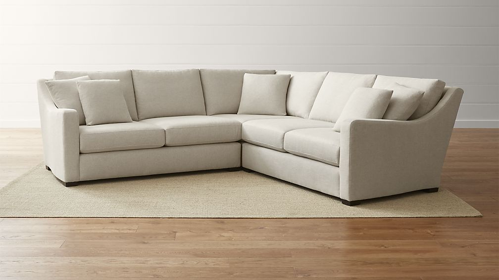 Amazing Three Piece Sectional Couch Verano Cream Canvas Sectional Sofa Crate And Barrel