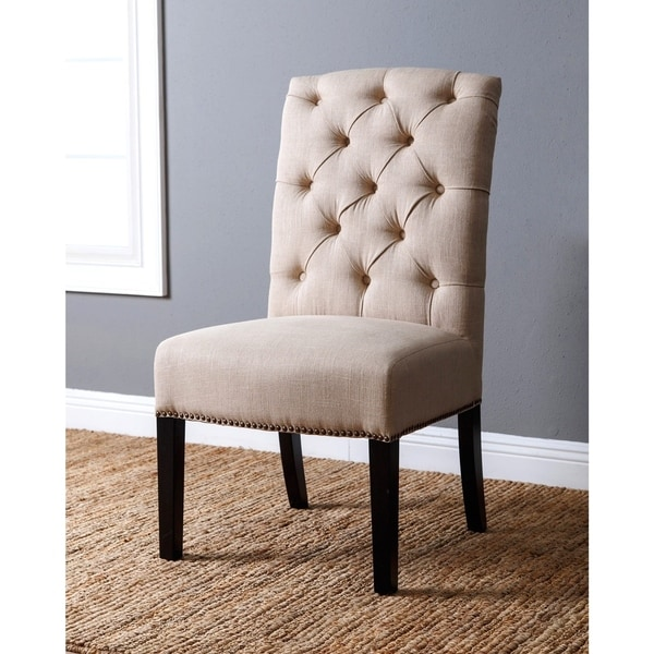 Amazing Tufted Dining Chair Abson Sierra Tufted Linen Dining Chair Free Shipping Today