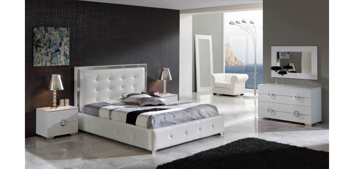 Amazing White Backboard For Bed Coco Modern Bedroom Set In White Leather Dupen Spain