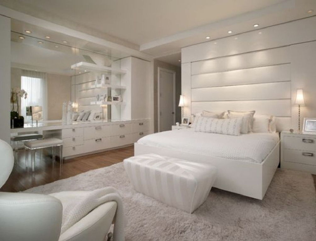 Amazing White Backboard For Bed Luxurious Bedroom Design With White Huge Headboard And White Fur Rug