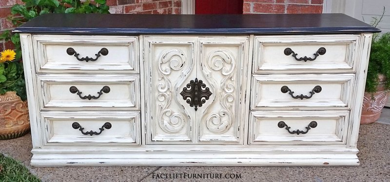 Amazing White Dresser With Brown Top Dressers Painted Glazed Distressed Facelift Furniture