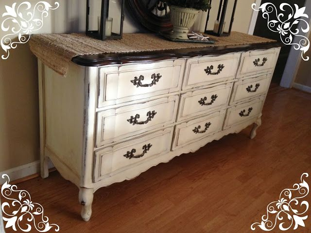 Amazing White Dresser With Brown Top I Applied 2 Coats Of Annie Sloan Old White Chalk Paint Sanded