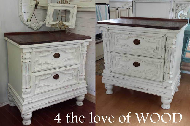 Amazing White Nightstand With Wood Top 4 The Love Of Dark Waxed