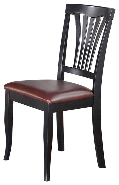 Amazing Wood Dining Chairs With Leather Seats Set Of 2 Avon Chair Traditional Dining Chairs Dinette4less