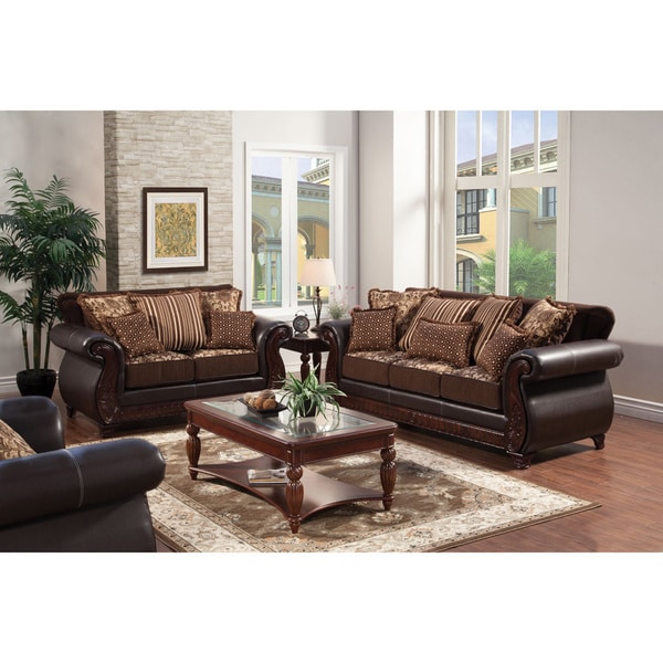 Attractive 2 Piece Furniture Set Furniture Of America Traditional Franchesca 2 Piece Fabric