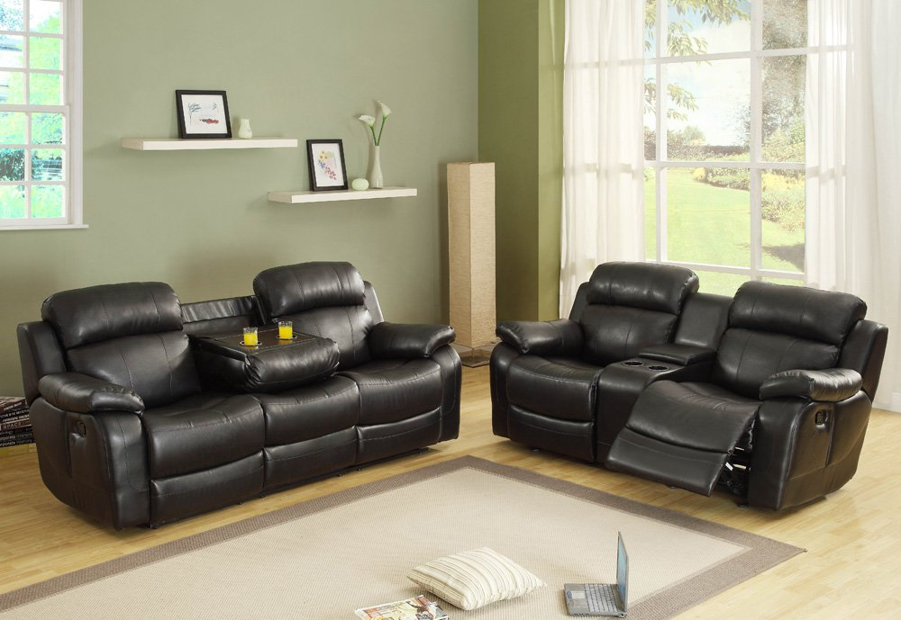 Attractive 2 Piece Furniture Set Homelegance Marille 2 Piece Reclining Living Room Set In Black
