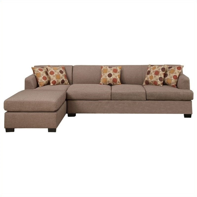 Attractive 4 Seat Sectional Sofa Poundex Bobkona Hudson 2 Piece 4 Seat Reversible Sectional Sofa In