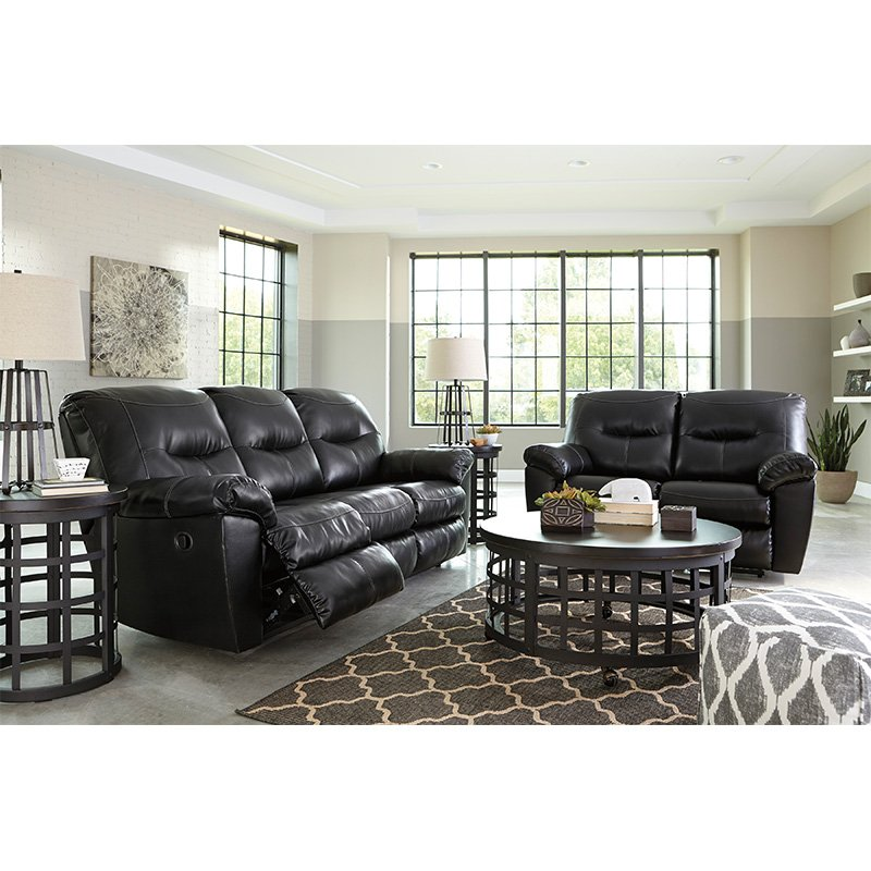 Attractive Ashley Black Leather Reclining Sofa Rent To Own Ashley Furniture Kilzer Sofa Loveseat Set