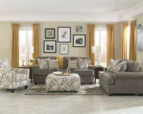 Attractive Ashley Home Furniture Sofas Ashley Coulson Smoke Gray Paisley Chair Sofa Loveseat Sleeper Bed