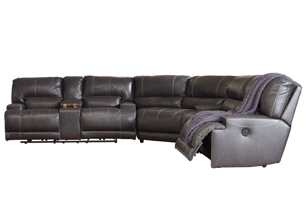 Attractive Ashley Leather Sectional Sofa Design Mccaskill Gray Leather Power Sectional Sofa Ashley