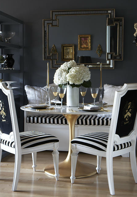 Attractive Black And White Dining Chairs Black And White Striped Dining Chair Regarding Your Own Home