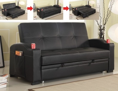 Attractive Black Leather Futon Couch S164 Black Leather Like Vinyl Upholstered Folding Futon Sofa Bed