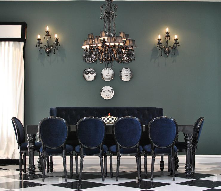 Attractive Black Tufted Dining Room Chairs Black Diningtable With Blue Velvet Dining Chairs Contemporary