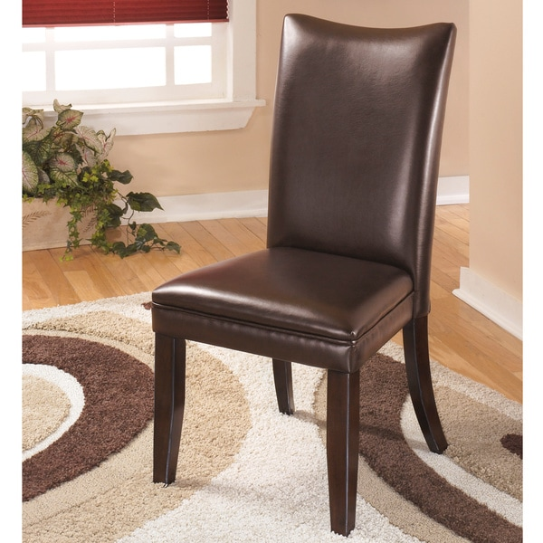 Attractive Brown Leather Dining Chairs Signature Designs Ashley Charrell Brown Leather Dining Chairs
