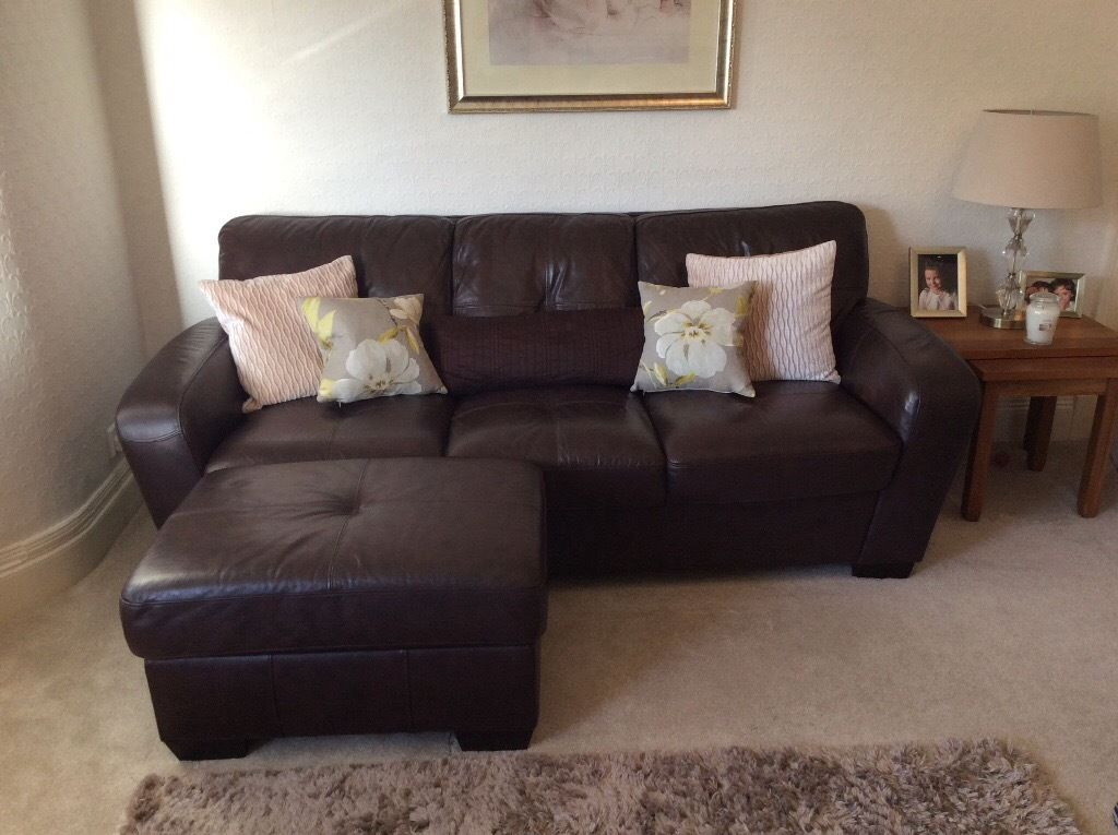 Attractive Chocolate Brown Leather Sofa Chocolate Brown Leather Sofa Couch And Matching Footstool In