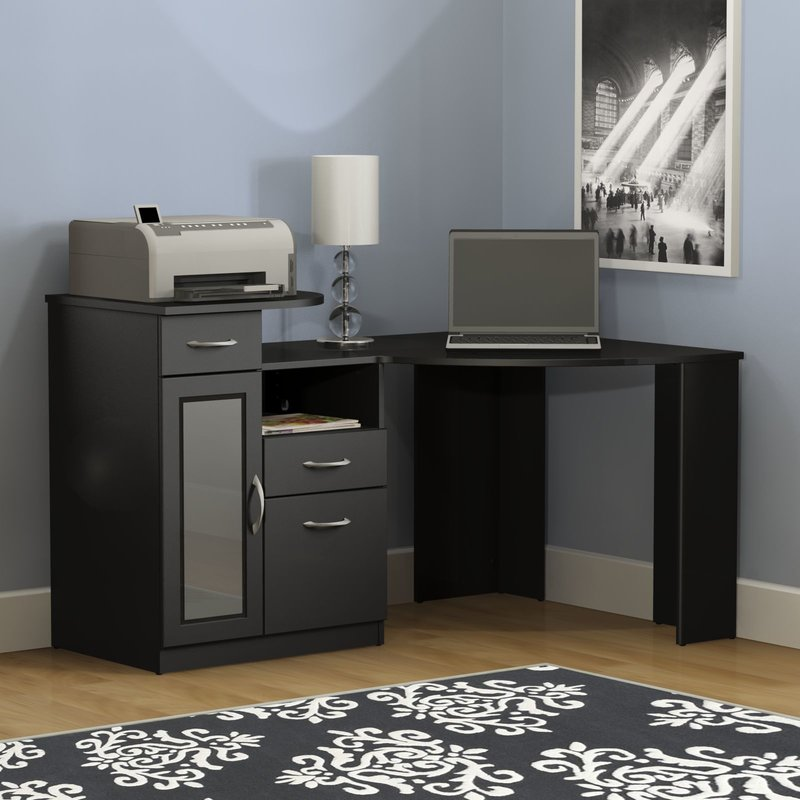 Attractive Computer Desk And File Cabinet Latitude Run Wilmot Corner Computer Desk Reviews Wayfair