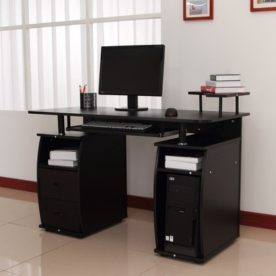 Attractive Computer Desk Canada Office Computer Desk Table Drawer Pc Cabinet With Elevated Shelf Black