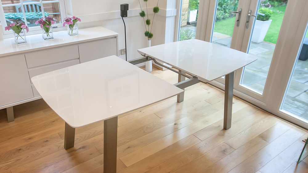Attractive Contemporary Dining Tables Extendable Extending White High Gloss Set Seats 8 Colourful Faux