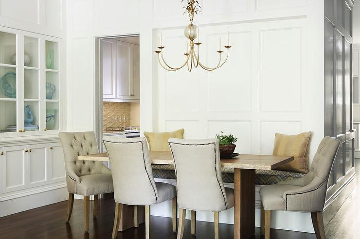 Attractive Dining Table Armchairs Live Edge Dining Table With Beige Tufted Nailhead Dining Chairs