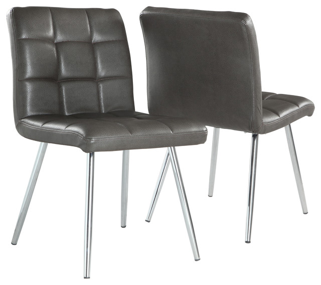 Attractive Faux Leather Dining Chairs Popular Of Gray Leather Dining Chairs With Monarch Specialties
