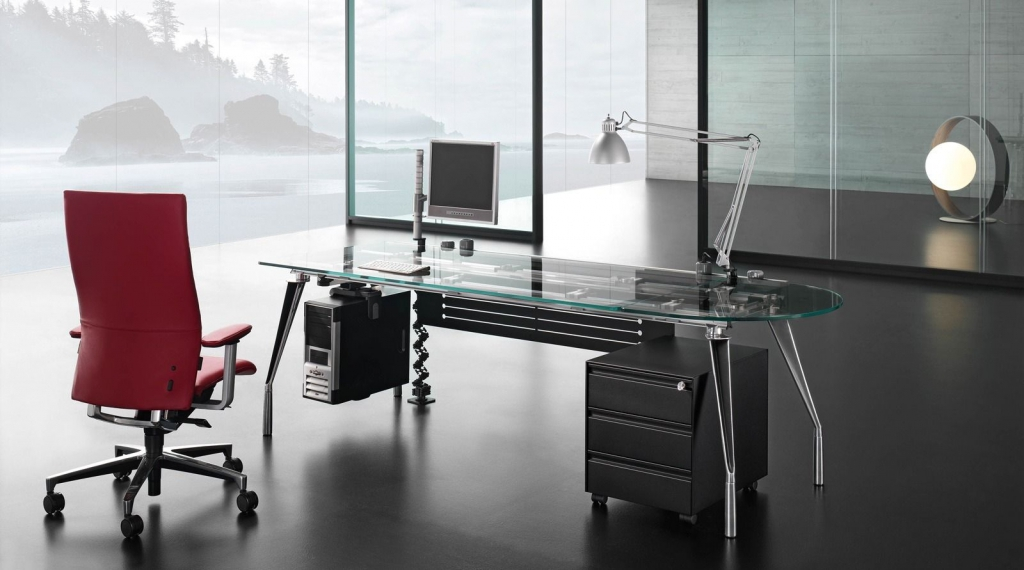 Attractive Glass Office Desk Modern Glass Office Desks Useful On Small Home Remodel Ideas With