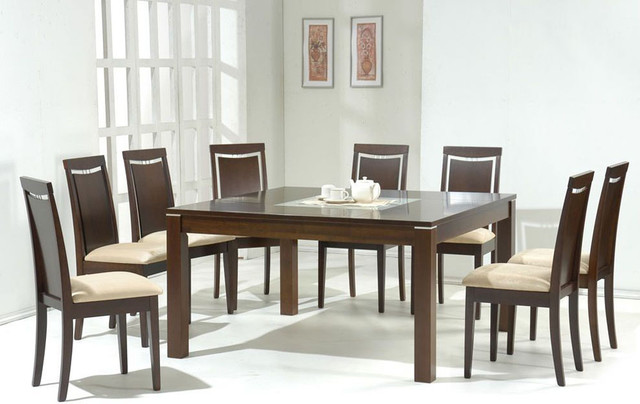 Attractive Glass Top Modern Dining Table Glass Top Microfiber Seats Modern Dining Contemporary Dining