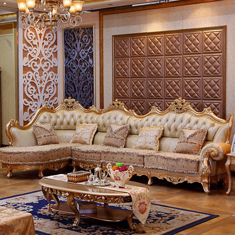 Attractive Gold Living Room Chairs Luxury Leather Sofa Living Room Wood Carving And Gold Corner Sofa
