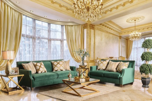 Attractive Green Living Room Set Sm2271 Emerald Green Living Room Set Gold Finish Legs