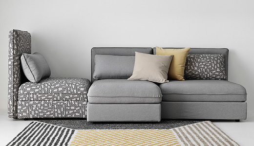 Attractive Grey Microfiber Sectional With Chaise Sectional Sofas Couches Ikea