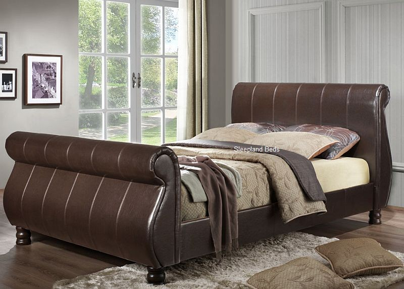 Attractive King Size Sleigh Bed With Mattress Marseille Brown Faux Leather Sleigh Bed 6ft Super Kingsize