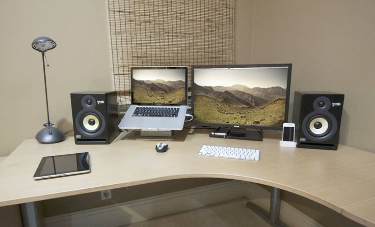 Attractive Laptop And Monitor Desk Setup Ordinary Laptop Desk Setup Laptop Monitor Setup Iknowlco