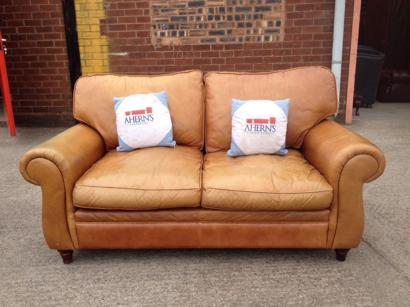 Attractive Laura Ashley Leather Sofa Stunning Original Tan Brown Leather Laura Ashley Sofa 1 Of 2