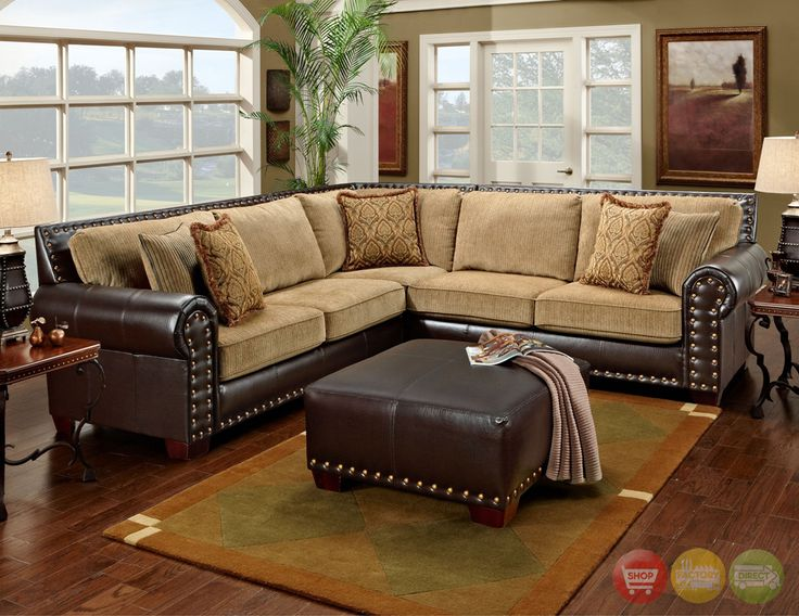 Attractive Leather And Cloth Sectional Awesome Traditional Brown And Tan Sectional Sofa With Nailhead