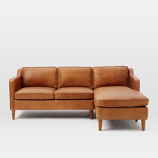 Attractive Leather Couch With Chaise Hamilton 2 Piece Leather Chaise Sectional West Elm