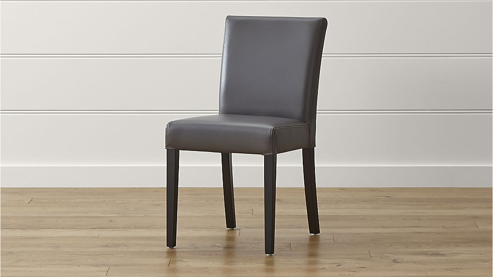 Attractive Leather Covered Dining Chairs Lowe Smoke Leather Dining Chair Crate And Barrel