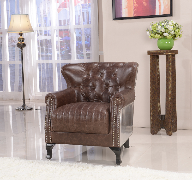 Attractive Leather High Back Chairs Living Room Skin Armchair American Country Living Room Chair Tiger Chair High