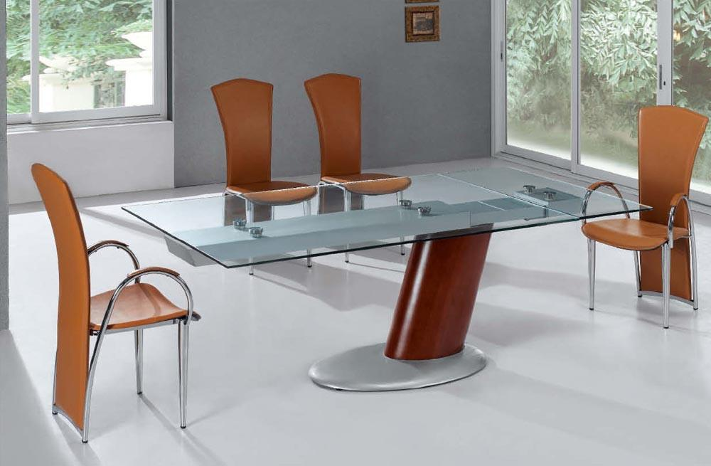 Attractive Modern Extendable Dining Table Comet Glass Contemporary Extendable Dining Table With Metal Base