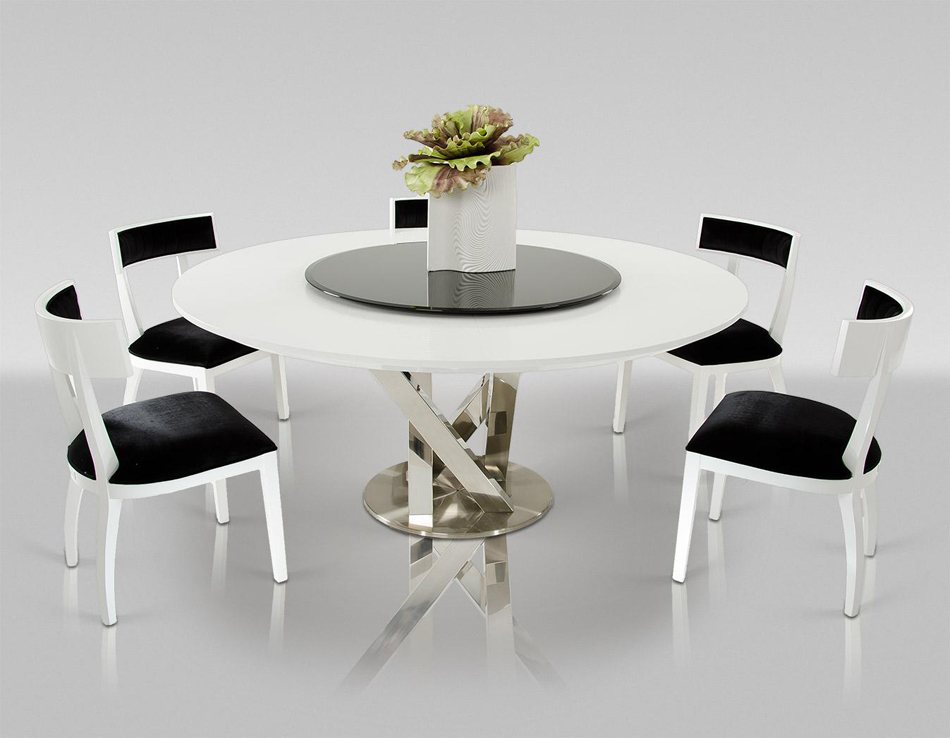 Attractive Modern Round White Dining Table Dreamfurniture Modern Round White Dining Table With Lazy Susan