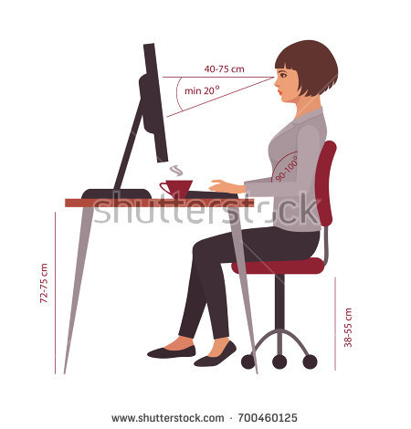 Attractive Office Desk Posture Correct Sitting Position Office Desk Posture Stock Vector