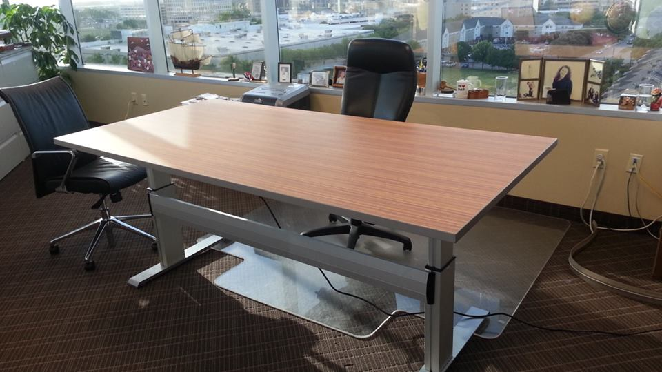 Attractive Office Furniture Work Table Inyouroffice Creates A Custom Electric Height Worktable