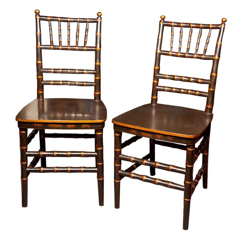 Attractive Pair Of Dining Chairs Pair Of Chinoiserie Faux Bamboo Dining Chairs For Sale At 1stdibs