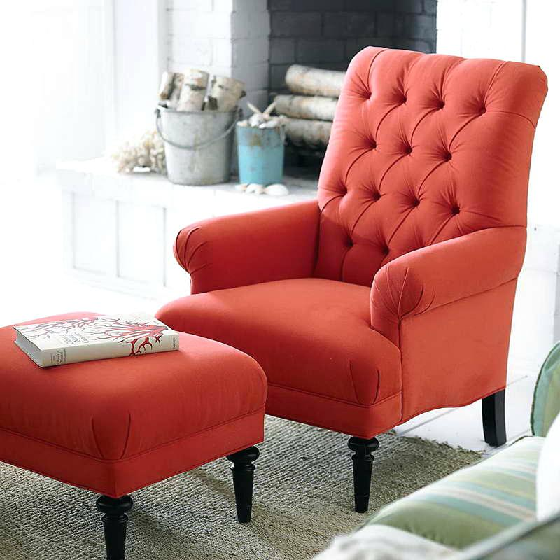 Attractive Red Accent Chair With Ottoman Sublime Red Chair With Ottoman For House Design Accent Chairs