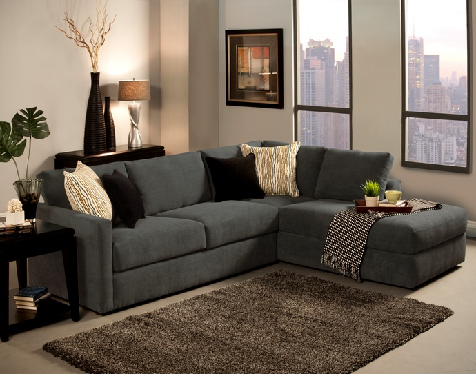 Attractive Sectional Couch With Chaise 2 Pc Cachet Shark Fabric
