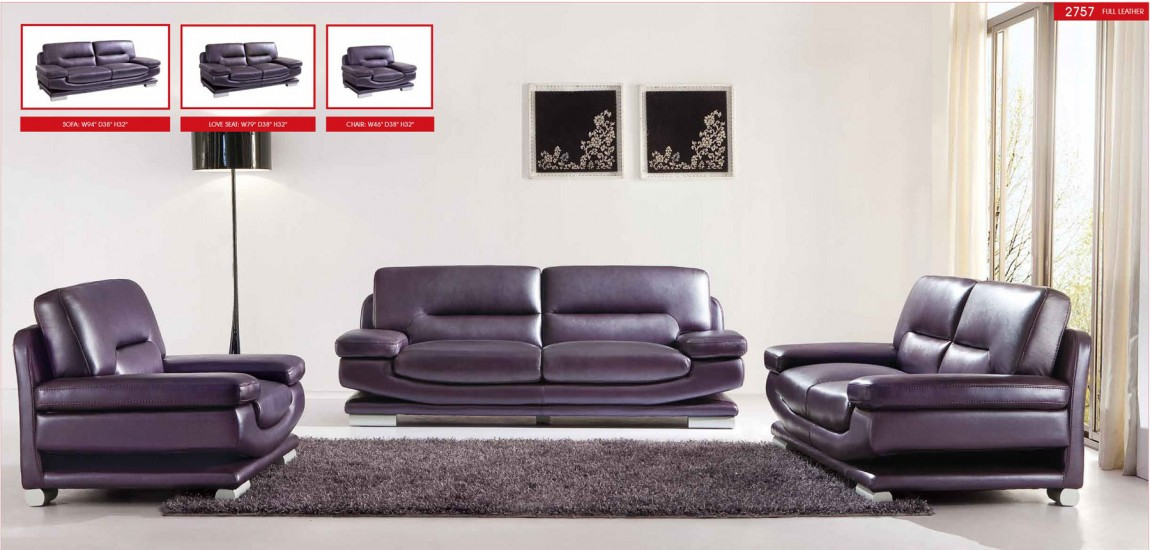 Attractive Sofa Loveseat Chair Sets 2757 Modern Full Italian Purple Leather Living Room Set