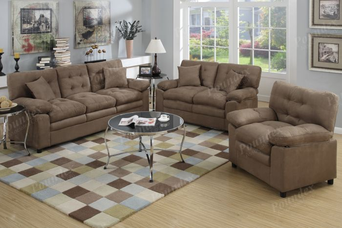 Attractive Sofa Loveseat Chair Sets Poundex F7910 3 Pcs Dark Brown Plush Microfiber Sofa Loveseat