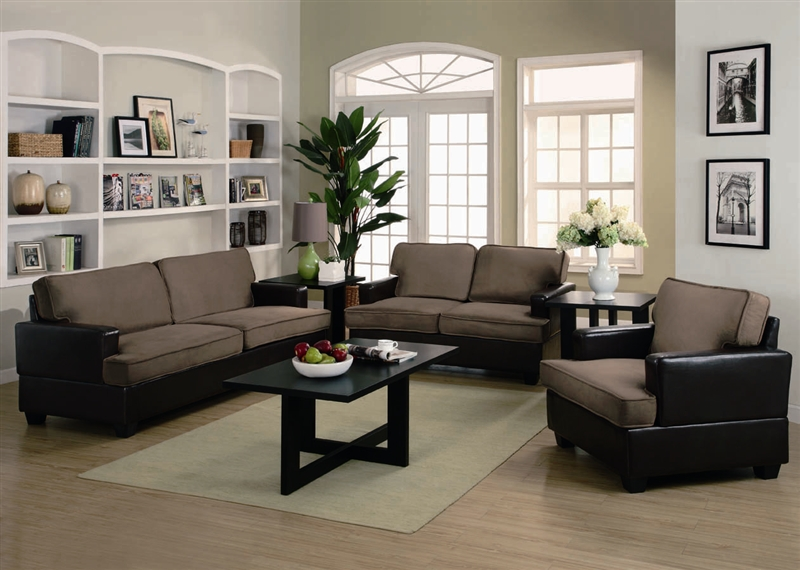 Attractive Three Piece Living Room Furniture Sets Caleb 3 Piece Sofa Set In Two Tone Upholstery Coaster 500110