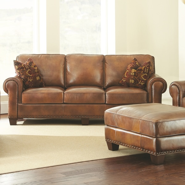 Attractive Top Grain Leather Sofa Sanremo Top Grain Leather Sofa With Two Pillows Greyson Living